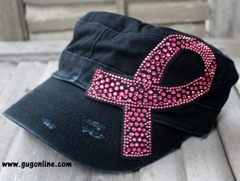 Black Cadet with Pink Breast Cancer Ribbon