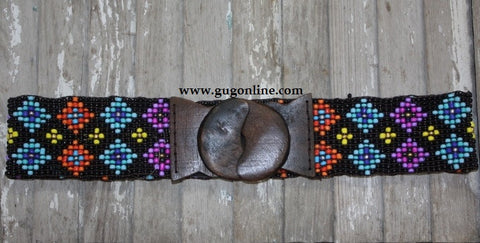 Black Multi Aztec Stretch Belt