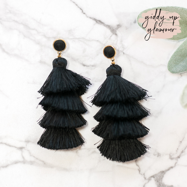 fun and flirty fast fashion long layered fringed tassel earrings with treaded top in black on post back with gold accents