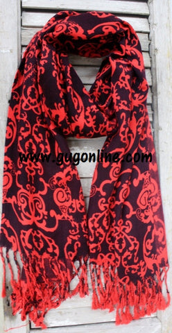 Black with Red Damask Print Scarf