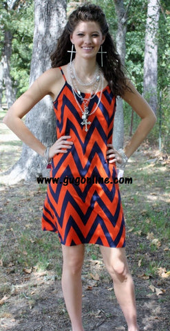 Blitz Babe Gameday Chevron Dress in Orange and Navy
