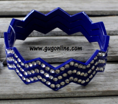 Blue Crystal Chevron Bangles