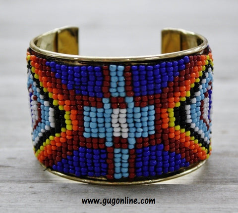 Blue, Rust, Orange, Yellow and Black Aztec Cuff Bracelet