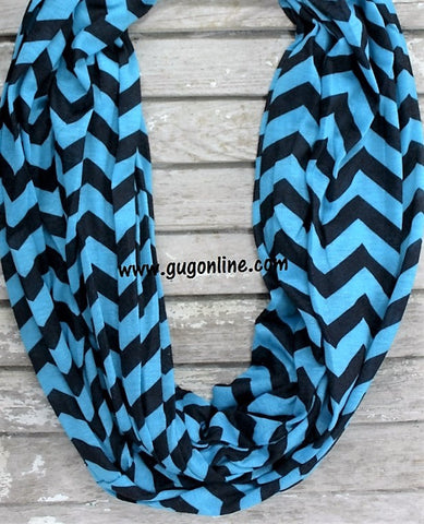 Blue and Black Chevron Infinity Scarf