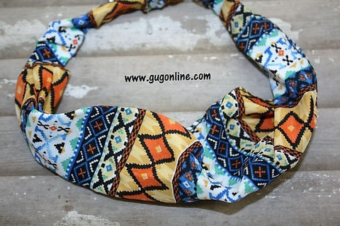 Blue and Orange Aztec Headband