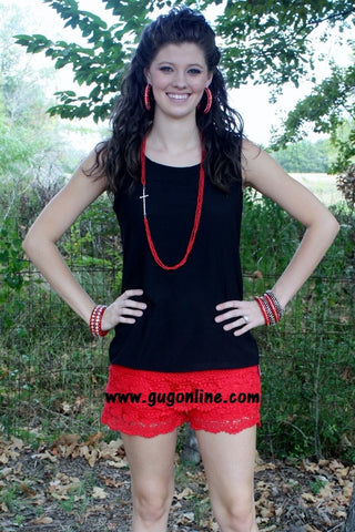 Bow Me Away Top in Black and Red