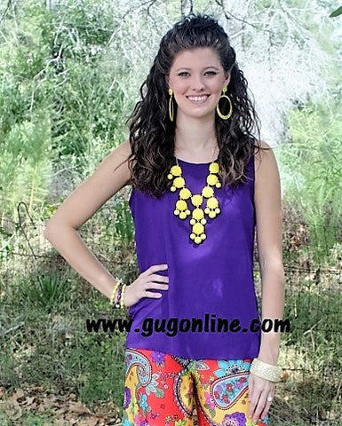 Bow Me Away Top in Purple and Yellow