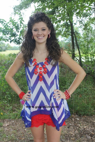 Bowtiful Blue Chevron Top