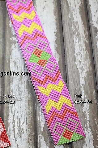 Bright Aztec Beaded Headband in Pink
