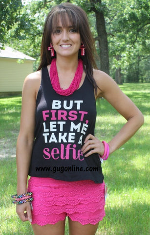 But First Let Me Take a Selfie Tank in Black and Pink