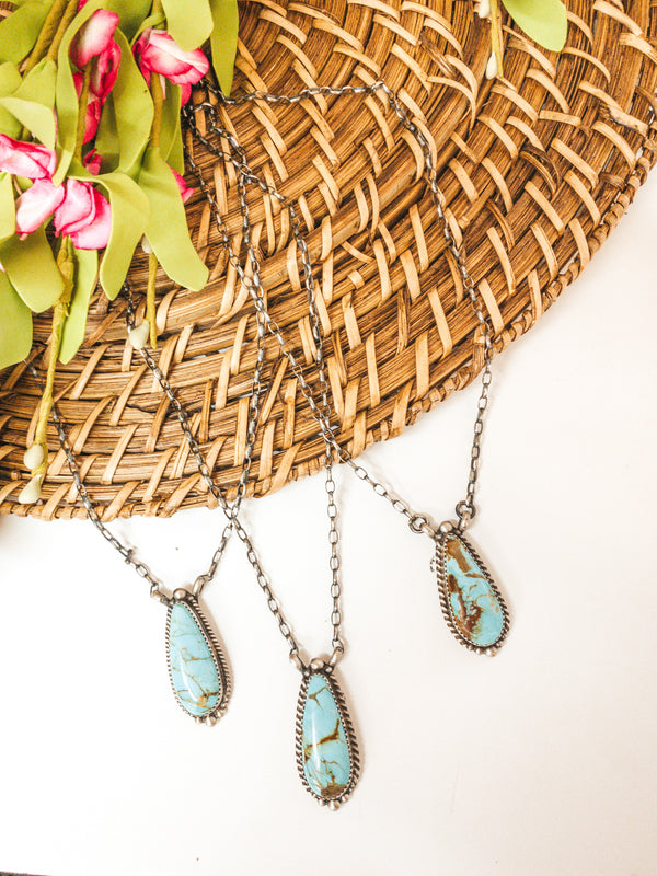Elouise Kee | Sterling Silver Chain Necklace with Teardrop Kingman Turquoise Pendant