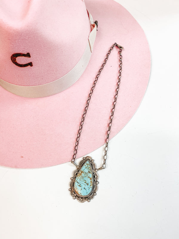 Robert Shakey | Navajo Handmade Sterling Silver Necklace with #8 Turquoise Teardrop Pendant