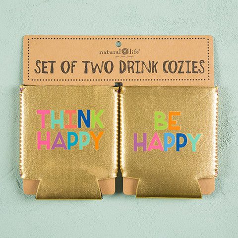 Set of Two Koozies - Think Hapy Be Happy