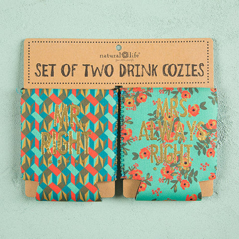 Set of Two Koozies - Mr & Mrs