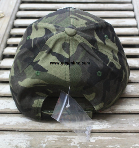Camo Baseball Cap with Bling Crystal Cross