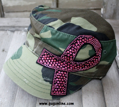 Camo Cadet with Pink Breast Cancer Ribbon