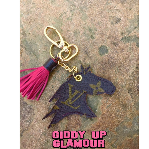 Authentic Upcycled and Recycled Louis Vuitton Monogram Canvas Horse Charm with Snap On and Key Fob and Mini Tassel