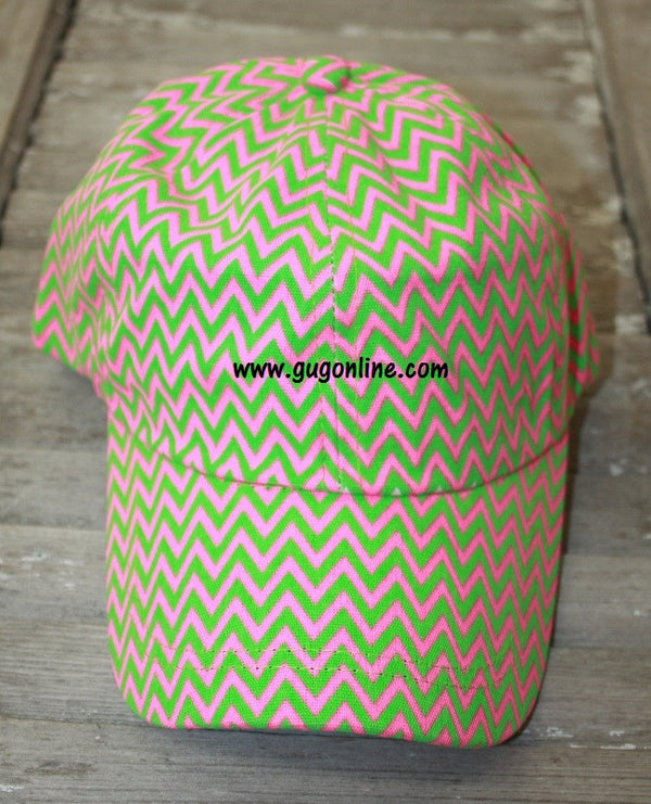 Chevron Baseball Cap in Pink and Lime