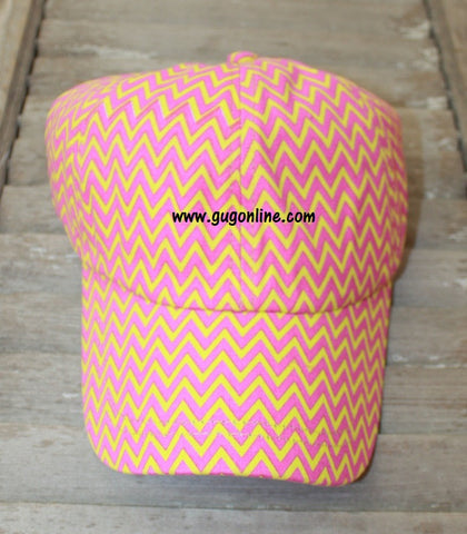 Chevron Baseball Cap in Yellow and Pink