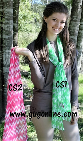 Chevron Scarves in Pink or Lime