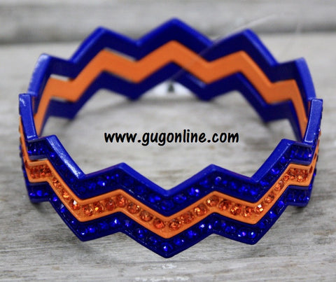 Chevron Crystal Bangles in Blue and Orange with Blue and Orange Crystals