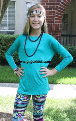 Children's Long Sleeve Piko Top in Jade