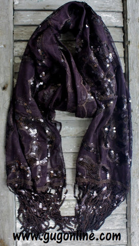 Chocolate Brown Rose Print Sequin Scarf