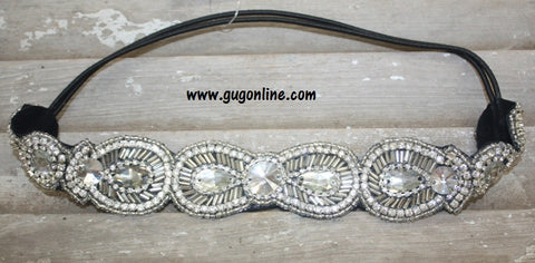 Clear Crystallized Headband with Black Elastic Strap