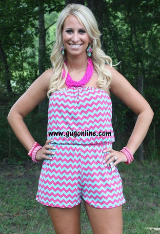 Contrast At Last Chevron Romper - Final Sale