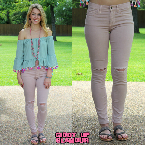 Only For You Blush Skinny Jeans