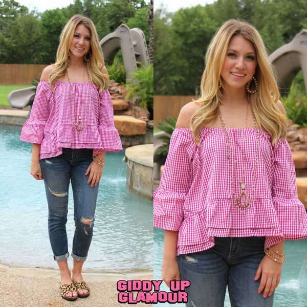 Perfect For Each Other Gingham Off Shoulder Top in Pink