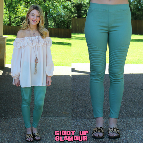 Downright Darling Moto Jeggings in Green
