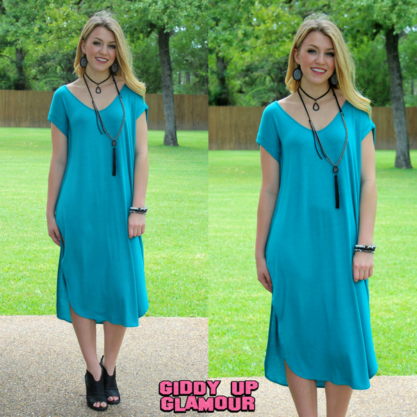 Get Outta Town Tee Shirt Maxi Dress in Turquoise