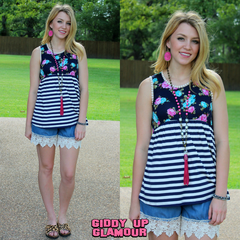 Sweet Symphony Navy Stripe and Floral Tank