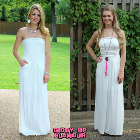 Still Holding On Maxi Dress with Pockets in Ivory