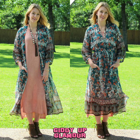 Bold Meets Beautiful Long Floral Wrap Kimono in Brown & Teal
