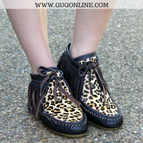 Brown and Cheetah Fringe Moccasins - Sizes 6, 7, 9, 10, 11
