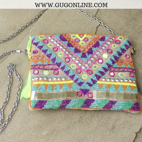 The Bailey Clutch - Fully Beaded Aztec Bag
