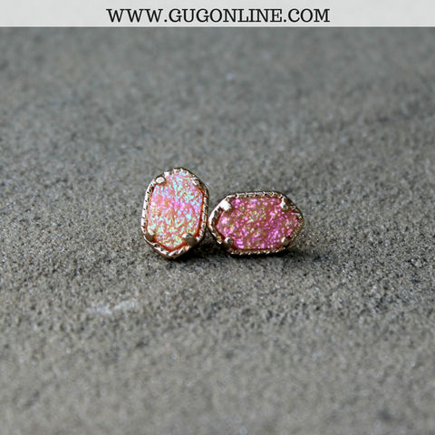 Gold and Peach Druzy Stud Earrings