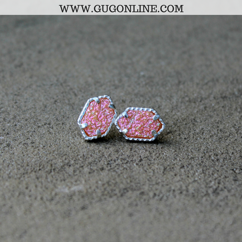 Silver and Peach Druzy Stud Earrings
