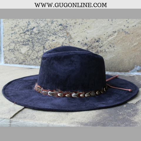 Black Suede Hat with Feather Trim