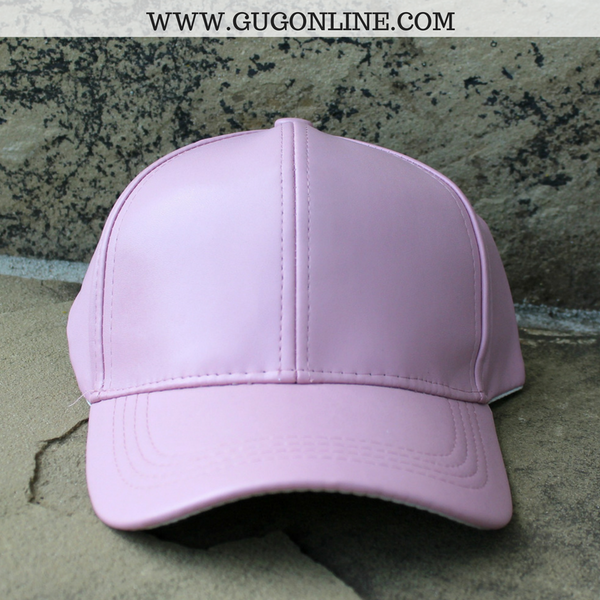 Faux Leather Baseball Cap in Blush Pink