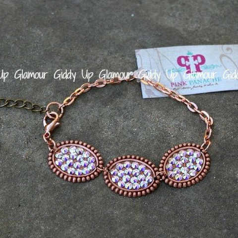 Three Mini Rose Gold Ovals on Bracelet with AB Crystals