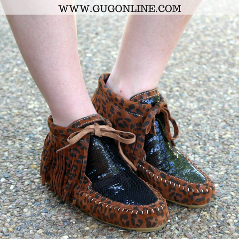 Cheetah Print Fringe Moccasins with Sequins