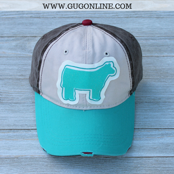 Turquoise Sparkly Steer Baseball Cap