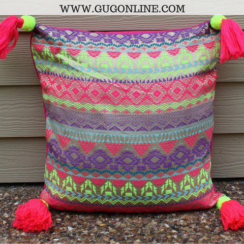The Katie Pillow - Neon Pink and Neon Yellow Jacquard Print with Tassels