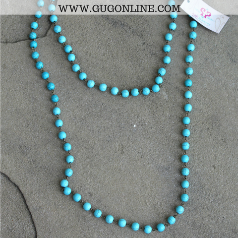 Pink Panache Long Turquoise Bead Layering Necklace - 38 Inch