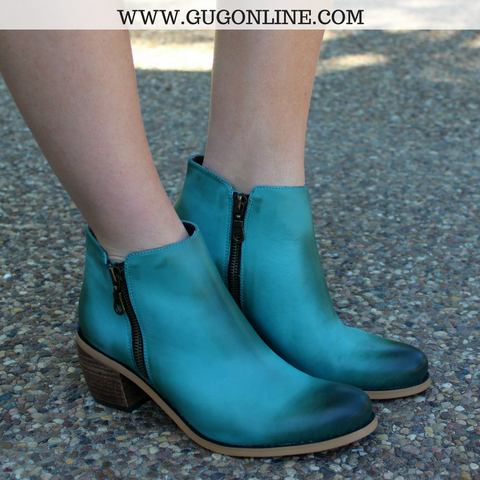 The Stella Distressed Bootie in Turquoise