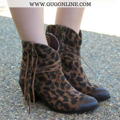 The Harlow Distressed Leopard Bootie with Fringe
