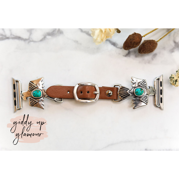 Western Thunderbird Apple Watch Band with Turquoise Stone